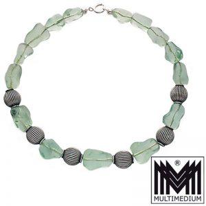 Alte Silber Collier Halskette Grün Jade China silver necklace