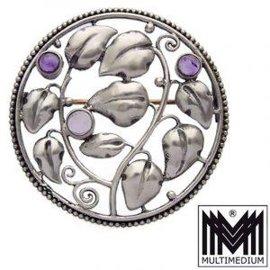 Karl Karst Pforzheim Jugendstil Silber Brosche Amethyst silver brooch