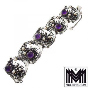 Modernist Bartel & Sohn Silber Armband Amethyst Blume silver bracelet
