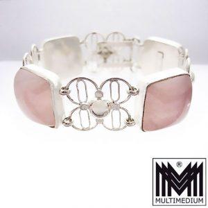 Art Deco Rosenquarz Silber Armband signiert 30er 30s silver bracelet