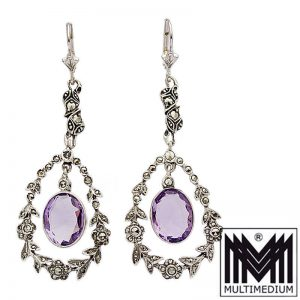 Markasit Silber Ohrringe Amethyst im Jugendstil Vtg silver earrings