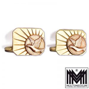 585er Gold Manschettenknöpfe Sonne Friedens Taube 14ct cuff links peace dove sun