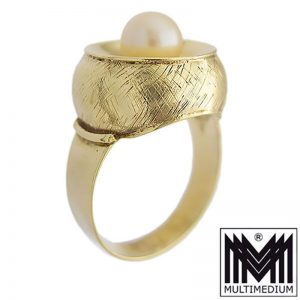 Art Deco 585er Gold Ring Zucht Perle cultured pearl 14ct 14k