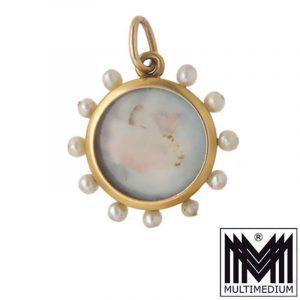 Biedermeier 585 Gold Medaillon Anhänger Antik Tracht antique pendant