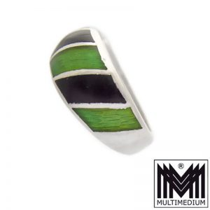 925 Sterling Silber Band Ring Emaille Grün Schwarz silver enamel