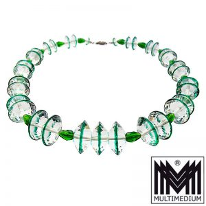 Art Deco Glas Halskette grün weiß facettiert 20er glass necklace