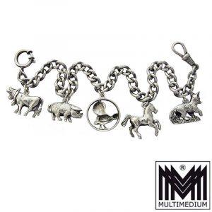 Antike Charivari Silber Kette m. Anhänger silver chain pendant