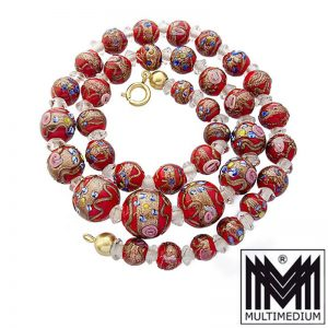 Vintage Murano Glas Kette Halskette Rot glass necklace millefiori red
