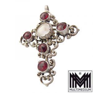 Antiker Neo Renaissance Silber Kreuz Anhänger Granat silver cross