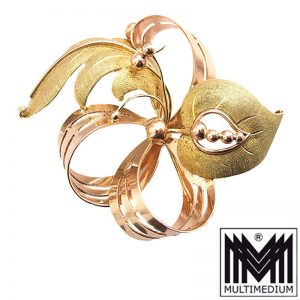 Große Art Deco 585 Rotgold Gelbgold Brosche Wien Schleife pin brooch gold 18g
