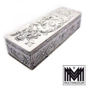 Jugendstil Silber Dose Schnupftabak silver box Engel Putten Schatulle