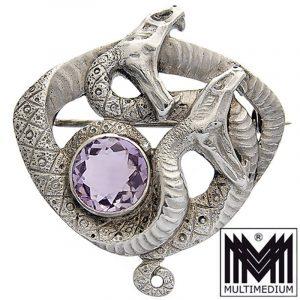 Jugendstil Silber Schlangen Brosche silver serpentina snake brooch