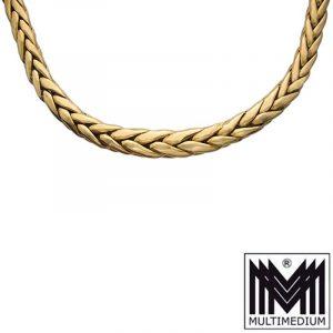 750 Gold Damen Halskette Collier necklace Zopfkette geflochten