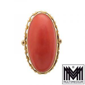 Großer 750er Gold Ring Koralle large oval coral 18k 30er 50er Jahre