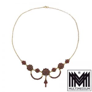 Granat Collier Halskette Silber vergoldet silver gilt garnet necklace