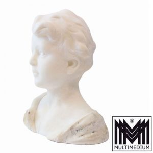 Jugendstil Marmor Büste Fritz Kochendörfer Figur Junge weiß art nouveau marble