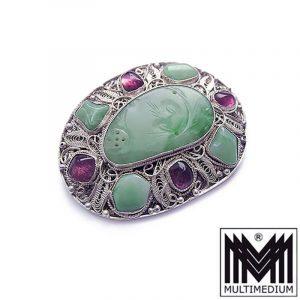 Jugendstil Jade Silber Brosche wohl Amethyst filigran silver China