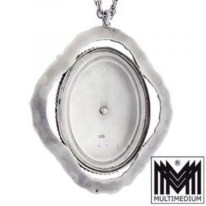 Jugendstil Emaille Silber Anhänger um 1910 Blumen Kette Blau Markasit