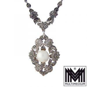Jugendstil Silber Collier um 1920 Blumen Kette Faux Perle Markasiten