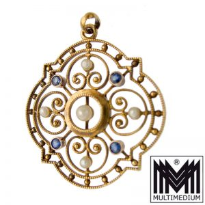 Jugendstil 585 Gold Anhänger Perle Saphir nouveau sapphire pendant