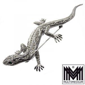 Große Art Deco Silber Brosche Eidechse Salamander Strass paste brooch