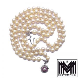 Akoya Perlen kette 750 white Weiß Gold Rubine 2reihig pearl necklace