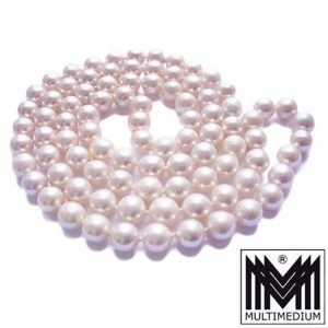 Akoya Perlen Halskette Perlenkette einreihig pearl necklace 90 x 8,5 mm rosa Lüster