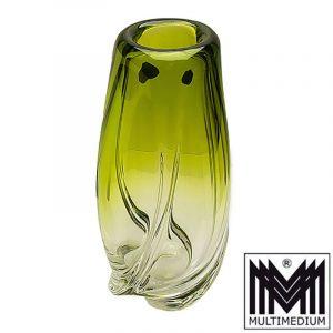 Prachtvolle Val Saint Lambert Glas Vase Delvenne signiert glass vase