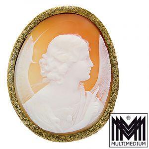 Antike Biedermeier 585 Gold Brosche Muschel Kamee Engel cameo brooch