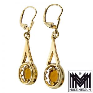Ohrringe Gelbgold 585 14ct Citrin geschliffen earrings yellow quartz