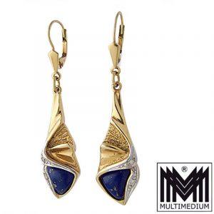 Ohrringe 585 Gelbgold Weißgold 14ct Lapislazuli earrings lapis lazuli