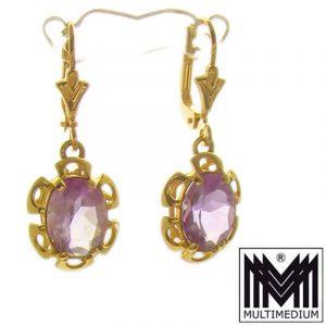 585er Gold Ohrringe Amethyst geschliffen 30er Jahre 14ct earrings