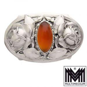 Jugendstil Silber Brosche Martin Mayer Pforzheim Karneol antik silver