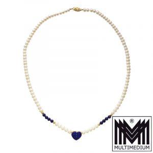 Modernist 585er Gold Lapis Lazuli Anhänger Perlenkette Pearl necklace