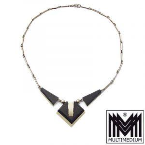 Jakob Bengel Galalit Bakelit Collier Art Deco 30er necklace verchromt