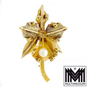 750 er Gold Brosche Handarbeit gold brooch hand made Orchidee Orchid