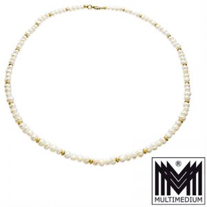 585 Gelbgold Süßwasser Zucht Perlenkette weiß Kugeln pearl necklace