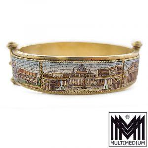 VERKAUFT - Millefiori Silber Armband Armreif um 1850 Mikromosaik silver gilt micro mosaic