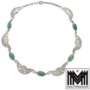 Art Deco 800 Silber Chrysopras Collier Halskette Grün silver necklace