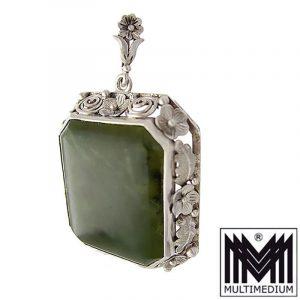Großer Art Deco Silber Anhänger 935 Nephrit Jade large silver pendant