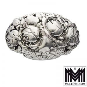 Gebrüder Falk Pforzheim Jugendstil Silber Brosche Rose silver brooch