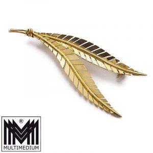 750 er Gold Brosche 18k Handarbeit Farn Blatt gold brooch hand made