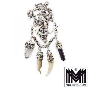 Antike Charivari Silber Rockstecker Kette Anhänger silver chain pendant 1900