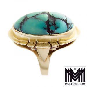 Vintage 585 Gelbgold Ring Türkis Cabochon turquoise 14k Gold
