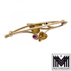 Jugendstil 585 Gold Brosche Diamant Rubin art nouveau gold brooch
