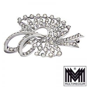 Art Deco Edwardian Silber Brosche Strass selten silver paste brooch