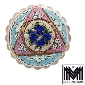 Mikromosaik Silber Brosche Millefiori 1860 micro mosaic silver brooch