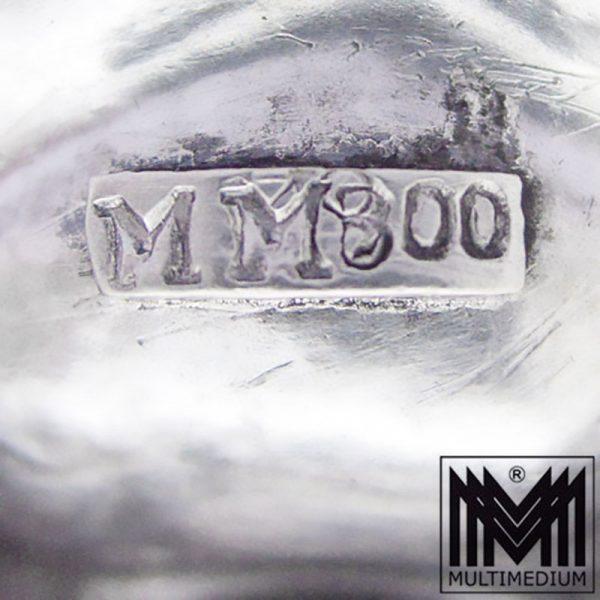 Prachtvolle große Art Deco Silber Koralle Amazonit Brosche MM silver