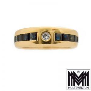 750er Rotgold Diamant Band Ring Saphir 18ct diamond red gold sapphire