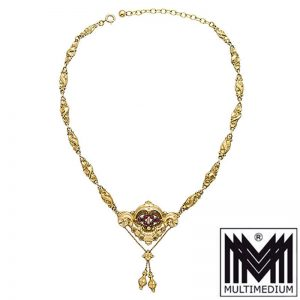 Biedermeier 585 Gold Collier Granat 1850 Halskette garnet necklace